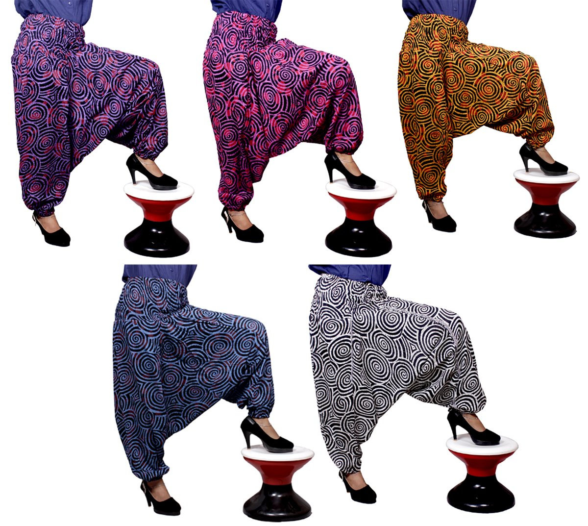5Pcs-25pcs Printed Genie Harem Circle Design Pants Gypsy India Wholesale Lot (Multi-25pcs)