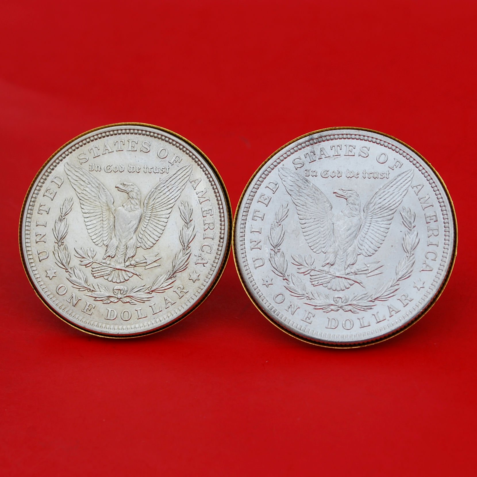 US 1921 Morgan Silver Dollar BU Uncirculated Gold Cufflinks NEW - REVERSE + REVERSE