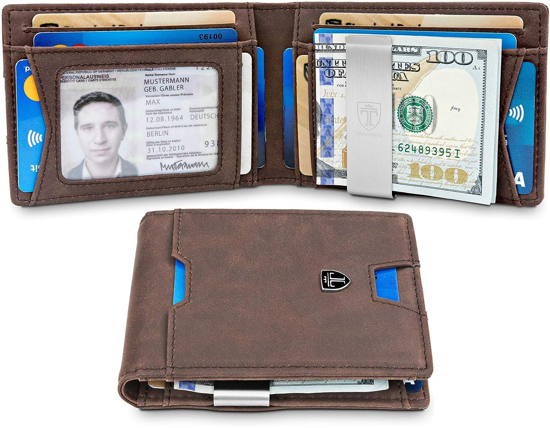 c166c994b6f85 TRAVANDO Slim Wallet with Money Clip RFID Blocking Wallet