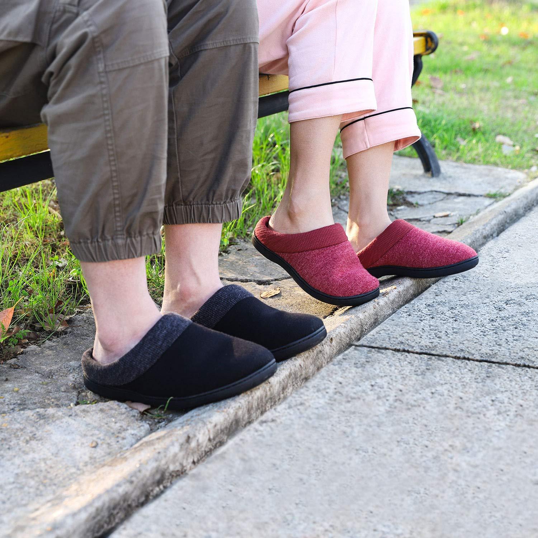 Mens Comfort Cotton Memory Foam House Slippers Slip On Shoes Indoor//Outdoor