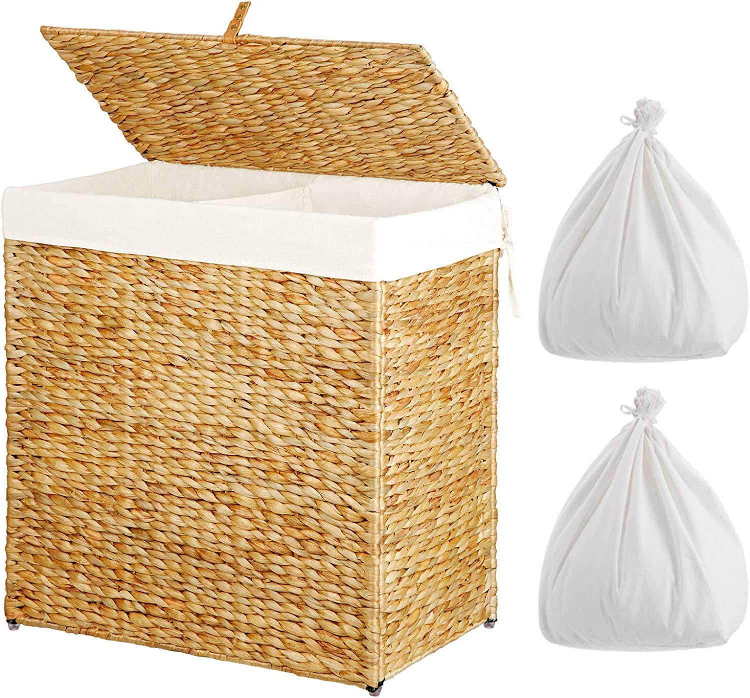 Greenstell Handwoven Seagrass Divided Clothes Laundry Hamper with 2 Removable Liner Bag, Handwoven Large Laundry Basket with Lid and Handles, Foldable and Easy to Install Natural (Large Size)