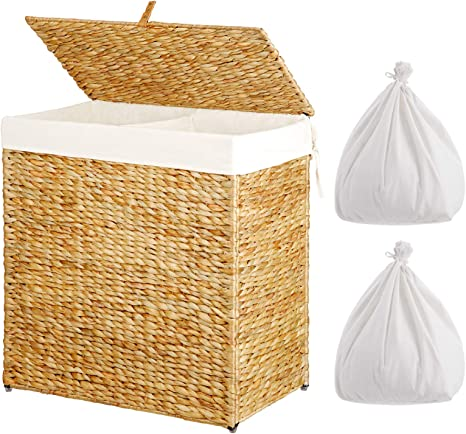 Greenstell Laundry Hamper with Wheels and 2 Removable Liner Bags Divided Seagrass Laundry Basket with Lid and Handles,Handwoven Dirty Clothes Basket Sorter Organizer Water-Hyacinth Foldable,Easy to Install,Used for Bathroom Laundry Room Natural Large S