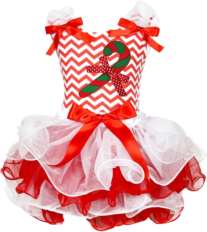 Christmas Dress Candy Stick Red White Chevron L//s Shirt Petal Skirt Set 1-8y
