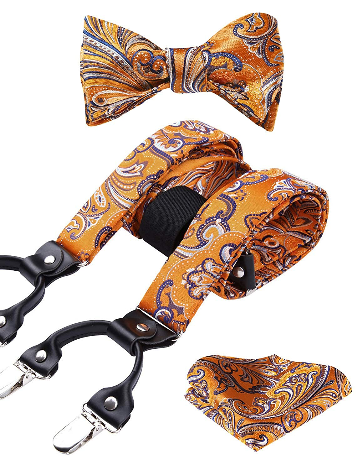 HISDERN Various Classic 6 Clips Suspenders /& Bow Tie and Pocket Square Set Y Shape Adjustable Braces SP923US3