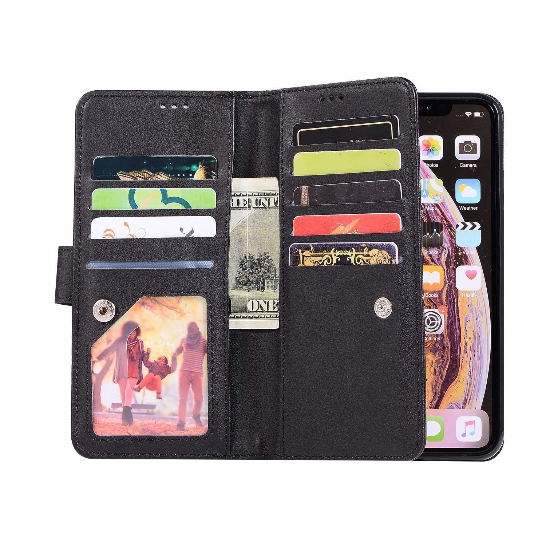 Urhause Bling glitzer Rei/ßverschluss Neun Karten Handyh/ülle Schutzh/ülle PU Leder Wallet Tasche Slim Flip Multifunktional H/ülle Case Kompatibel mit iPhone XS Max,Rotgold