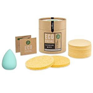 Eco Facial Cleanse 40 Natural Compressed Facial Sponges Biodegradable Cellulose Complete with Beauty Blender Makeup Applicator