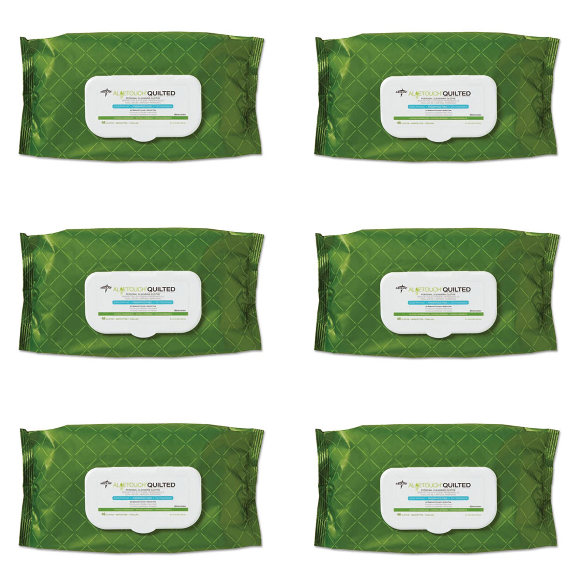 Medline MSC263625H AloeTouch Quilted Heavyweight Personal Cleansing Cloth Wipes, Unscented, 8'' x 12'' Adult Large Incontinence Wipes, Pack of 48, 6 Packs
