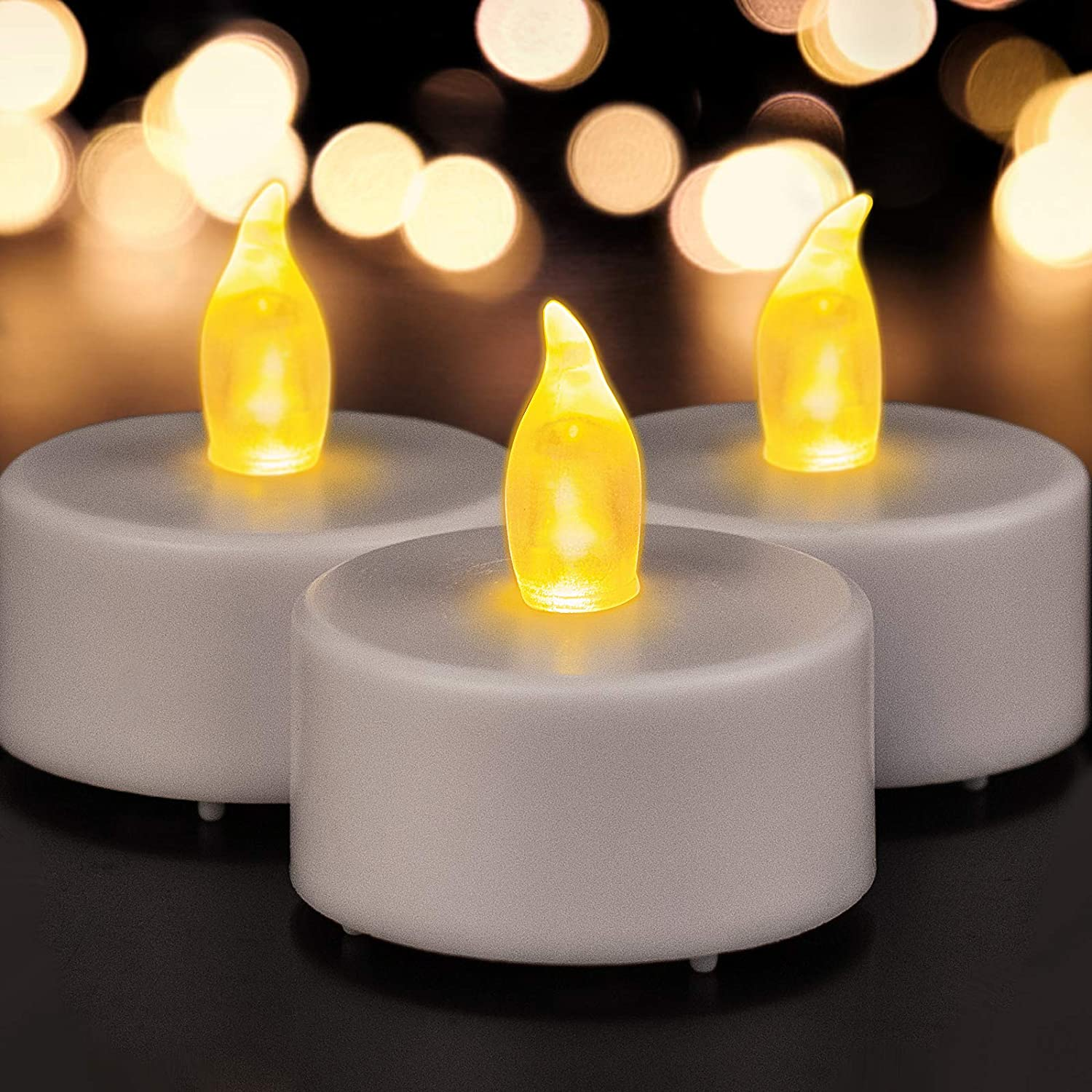 BENEVE Battery Operated Tea Lights Candles: 24 Pack Realistic and Bright Flickering Holiday Gift Flameless LED Electric Candles for Seasonal & Festival Party Home Decoration