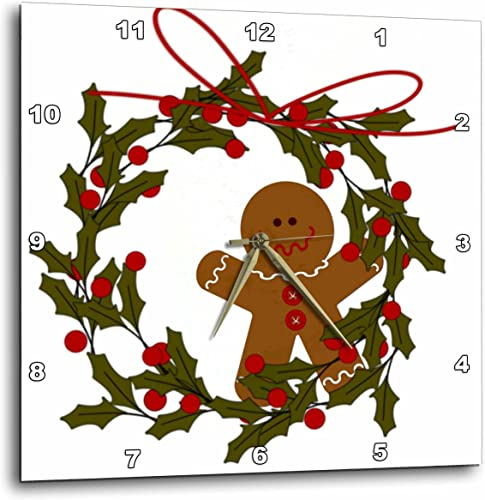 3dRose DPP_97920_2 Wreath with Gingerbread Man and Holly-Wall Clock, 13 by 13-Inch