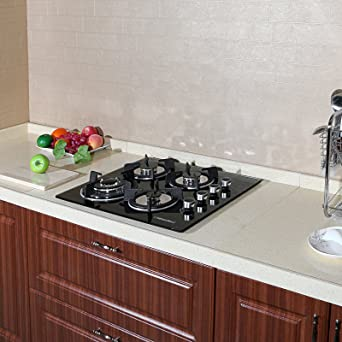 Windmax 24 Inches 3.3KW Kitchen Glass Built In 4 Burners Gas Hob Cooktop  Cook