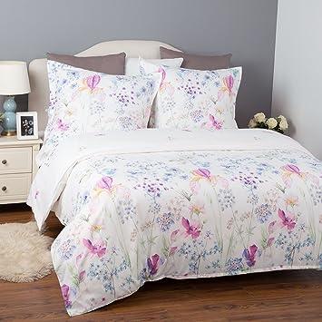 Bedsure Bettwäsche Blumen 200x200cm Weiß Bettbezug Mit Blumenmuster