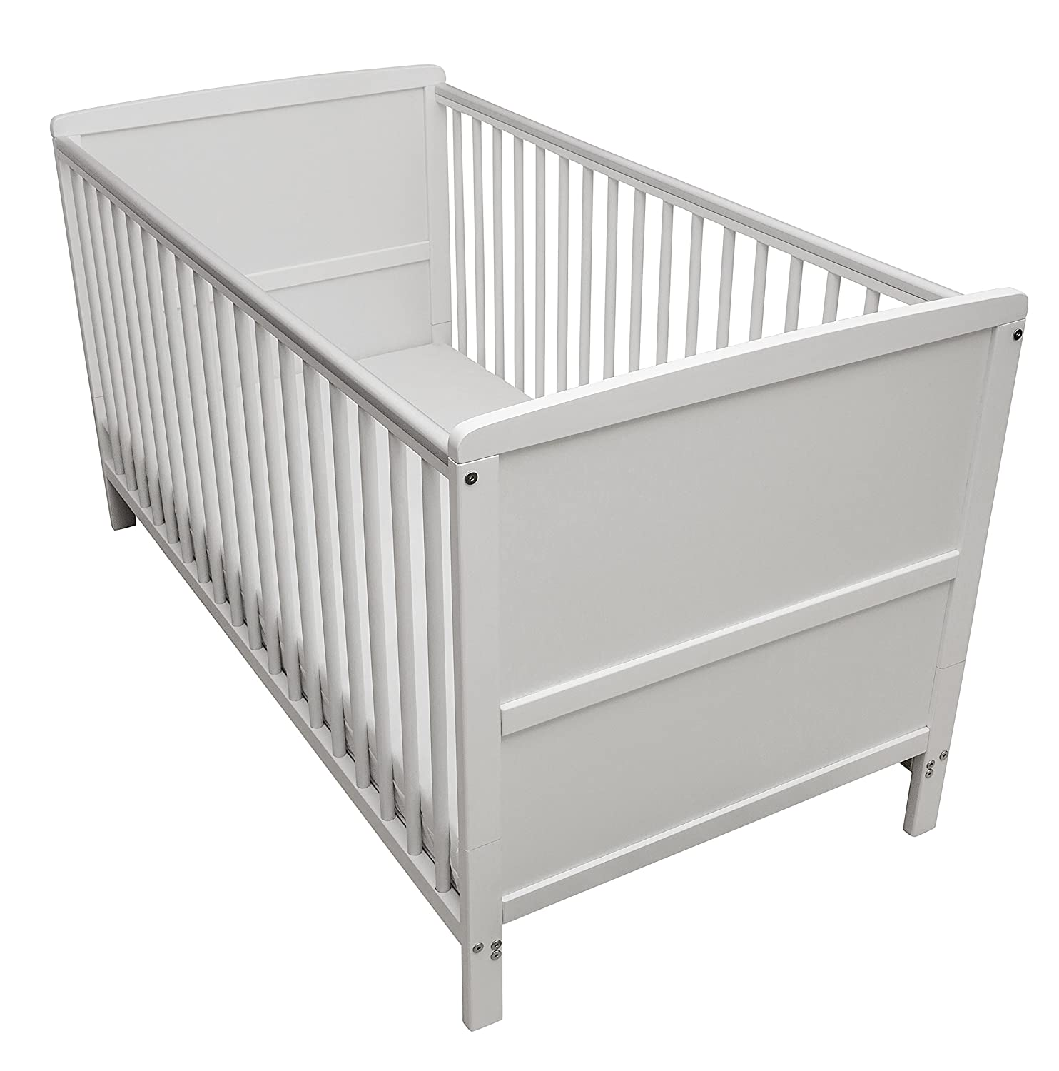Kinder Valley Solid Pine Wood 2-in-1 Junior Cot Bed with a Flow Mattress, White, 144 x 76 x 80 cm 64001