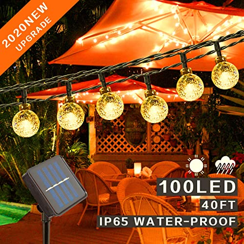 Mega-Loopolis 40Ft 100 LED Solar String Lights Outdoor, Waterproof Globe String Lights 8 Modes Indoor Outdoor Fairy Crystal Ball Lights for Patio Yard Trees Christmas Wedding Party,Soft White Light