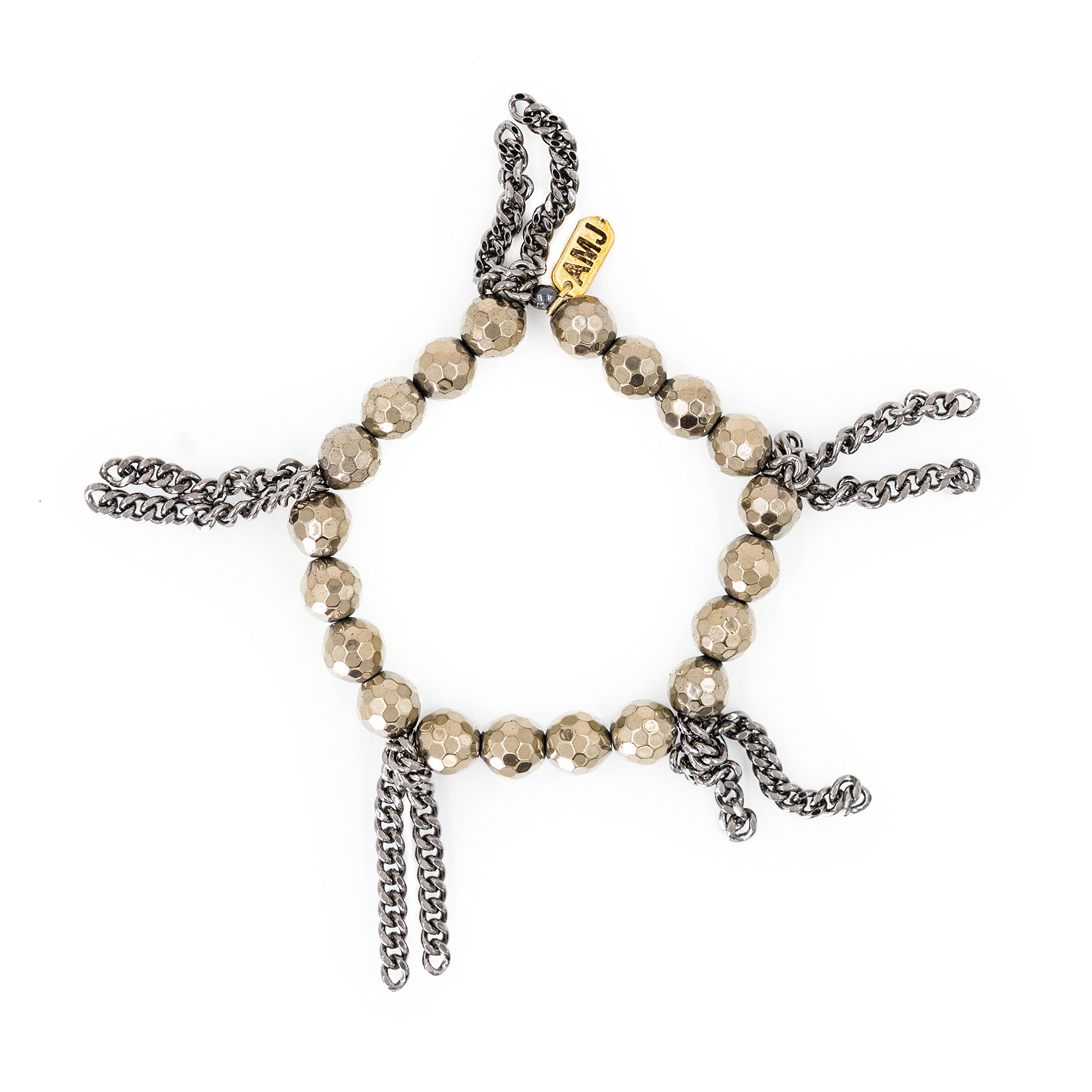 A. Marie Cha Cha Metallic Gold Tone Disco Hematite Faceted Stones with Fringe Stretch Bracelet