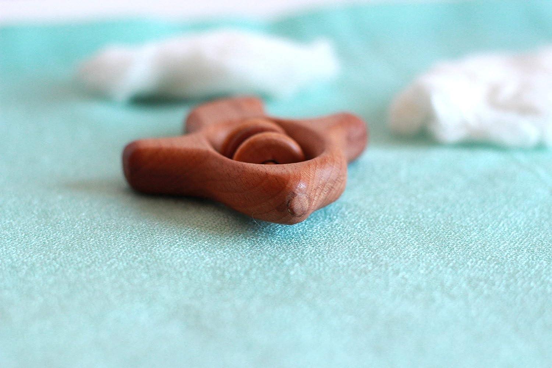 Wooden Plane Beech Teething Toy. Organic Wooden Teether