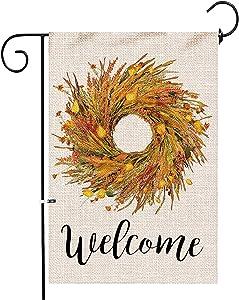 Hexagram Wheat Wreath Fall Garden Flags 12 x 18 Double Sided,Burlap Fall Wheat with Lantern Flower Welcome Yard Flag,Farmhouse Outdoor Garden Decor,Small Garden Flag 12x18 Prime