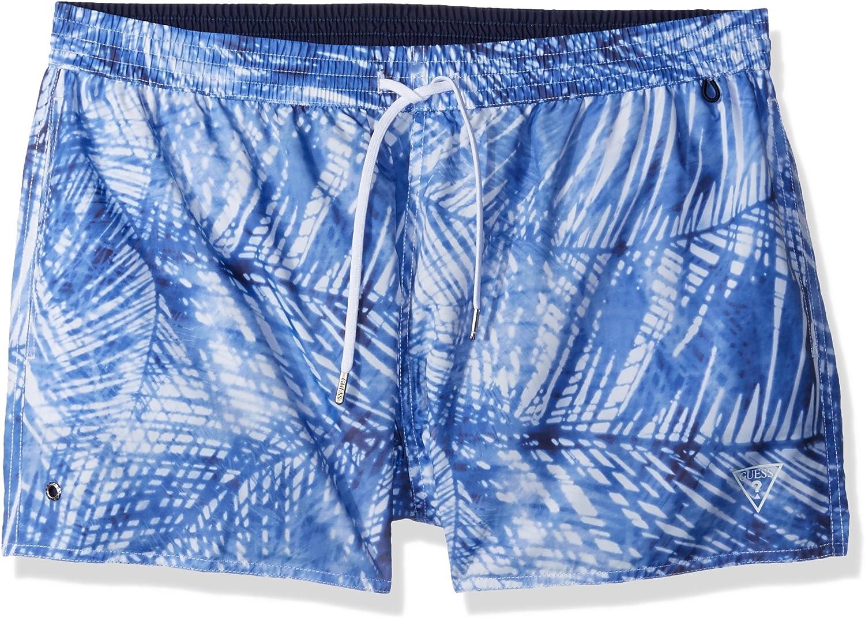 GUESS Mens Horizontal Stripe Elastic Waist Swim Trunk