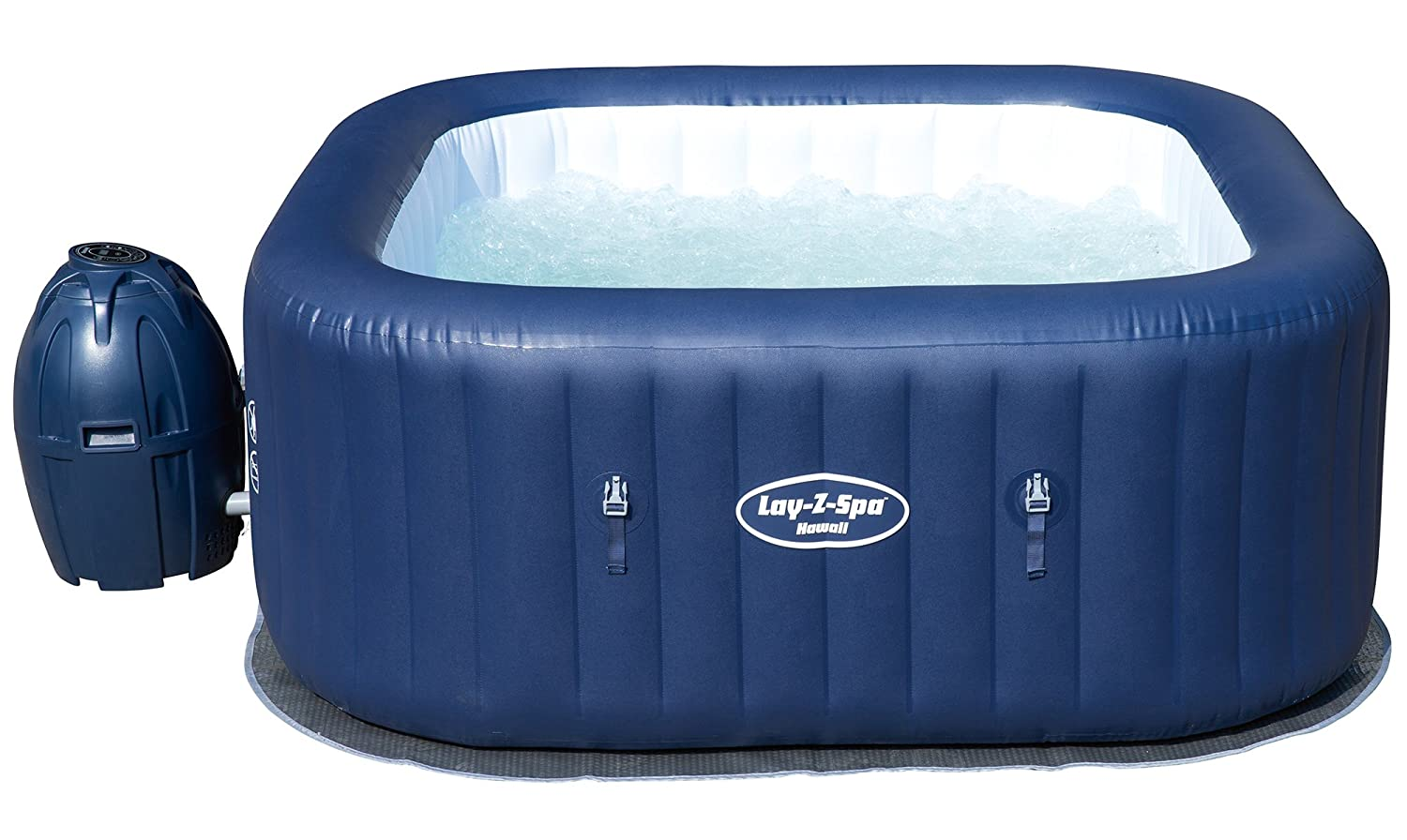 Lay-Z-Spa Hawaii Hot Tub, Airjet Square Inflatable Spa, 4-6 Person ...