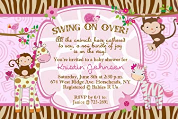 Amazoncom Jungle Baby Shower Invitations for a Girl Qty 20