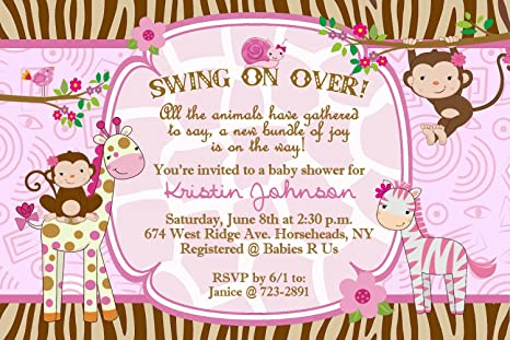 Amazoncom Jungle Safari Baby Shower Invitations For A Girl