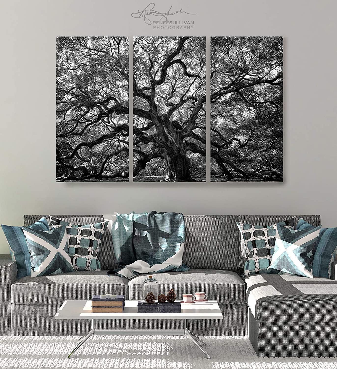 Angel oak tree ready to hang triptych fine art photo canvas gallery wrap extra large premium quality 3 panel wall decor charleston sc black white