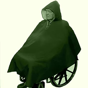 Winter Hooded Poncho Cape for Wheelchair Users-Hunter Green