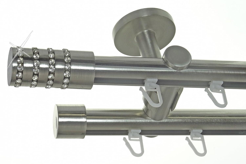 Innenlauf Gardinenstange Edelstahl Look 20mm Deckenbefestigung, 2-läufig Kristall, Länge wählbar D40 E39E30, Länge 280 cm