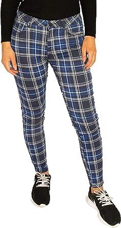 Pantalones Cuadros Estilo Slim Para Mujer Pantalon De Tartan Pitillo Azul Negro Y Blanco 40 Amazon Es Ropa Y Accesorios