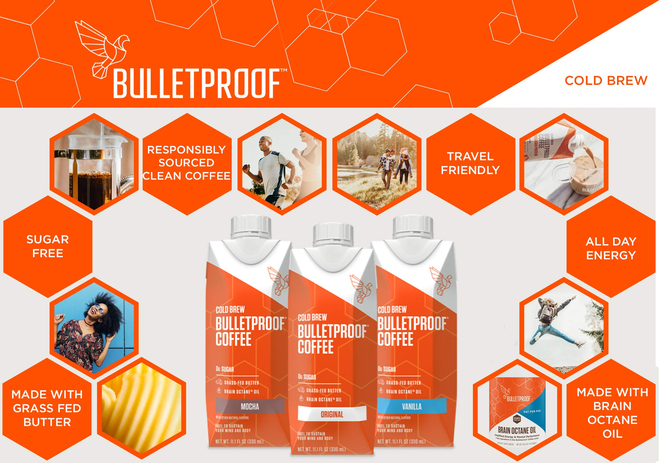 Bulletproof Cold Brew Coffee, Keto Friendly, Sugar Free, with Brain Octane oil and Grass-fed Butter, (Mocha) (12 Pack) by Bulletproof (Image #4)