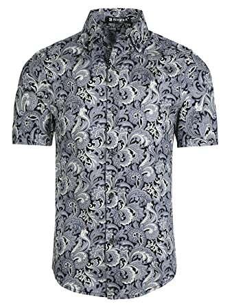 7a2595c7 uxcell Men Slim Fit Floral Print Short Sleeve Button Down Beach Hawaiian  Casual Aloha Paisley Shirt