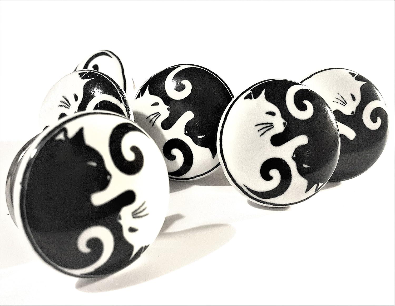 Lot de 6 boutons en c/éramique par fff Noir et Blanc Yin Yang Chats Placard de cuisine meubles poign/ées de tiroir en porcelaine Vintage Shabby Chic