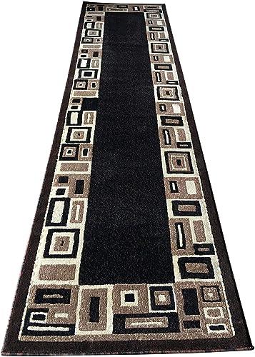 Modern Long Runner Rug Brown Black Design 3627 32 Inch X19 Feet 8 Inch