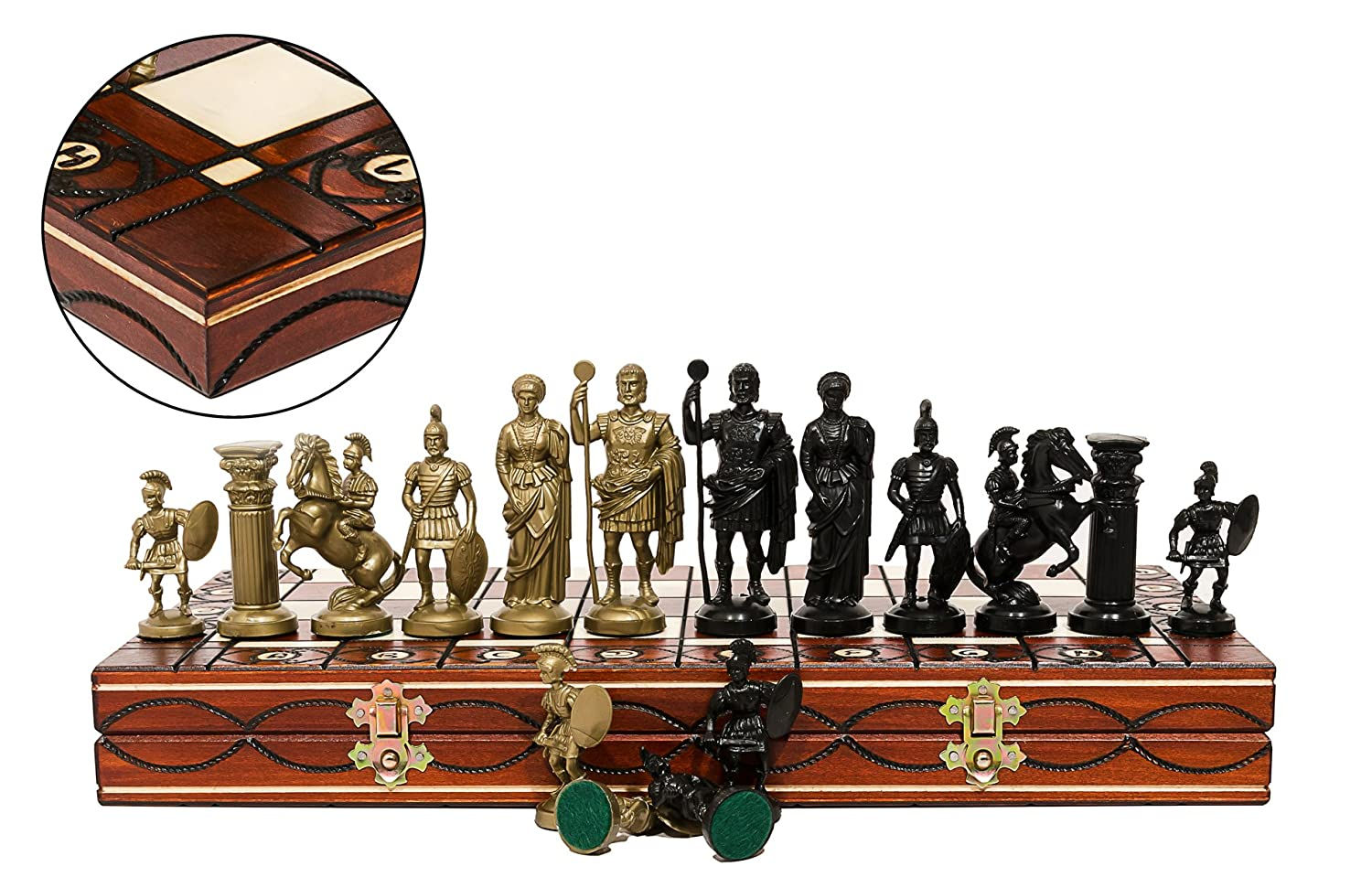 ''SPARTAN'' DECORATIVE CHESS SET 42X42! STUNNING CHESSBOARD AND WEIGHTED PIECES! Master Of Trading C004