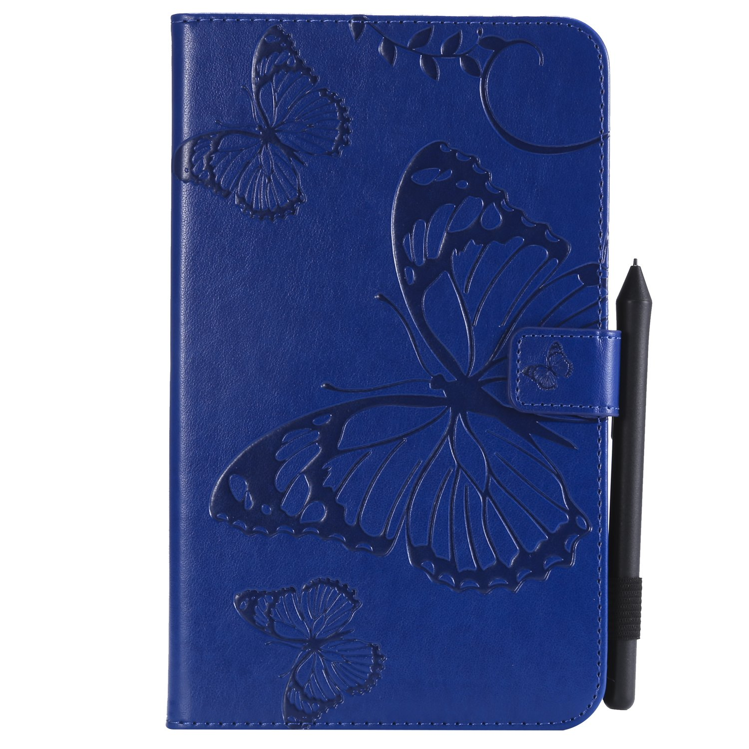 Bear Village Galaxy Tab a 2017 8.0 Inch Case, Butterfly Embossed Anti Scratch Shell with Adjust Stand, Smart Stand PU Leather Case for Samsung Galaxy Tab a 2017 8.0 Inch, Blue by Bear Village