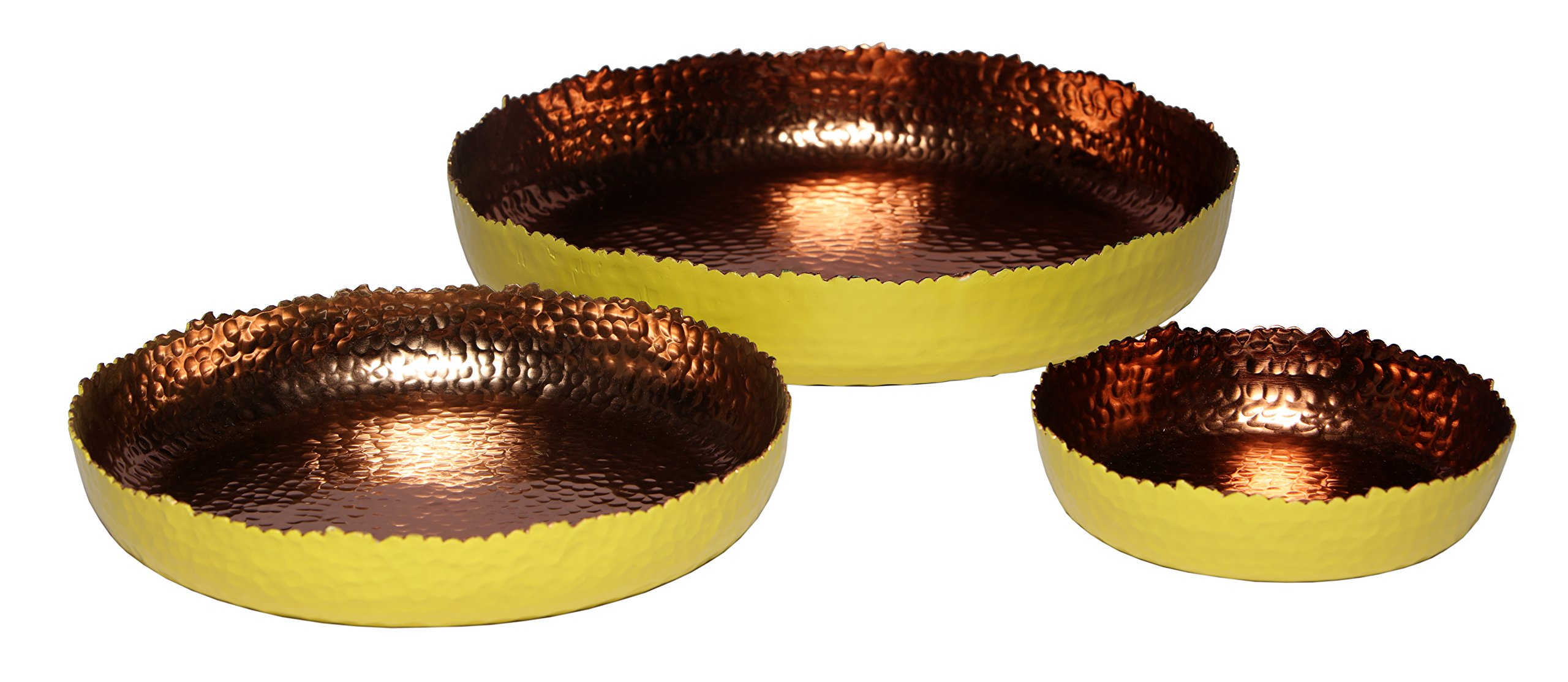 Melange Home Decor Cuivre Collection, Set of 3 Round Platters - 6'', 9'' and 12'', Color - Sunflower