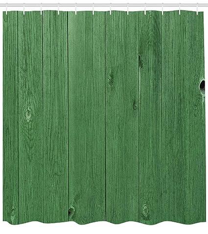 Lunarable Hunter Green Shower Curtain Wooden Planks In Color Rustic Barn Farmland Village Life