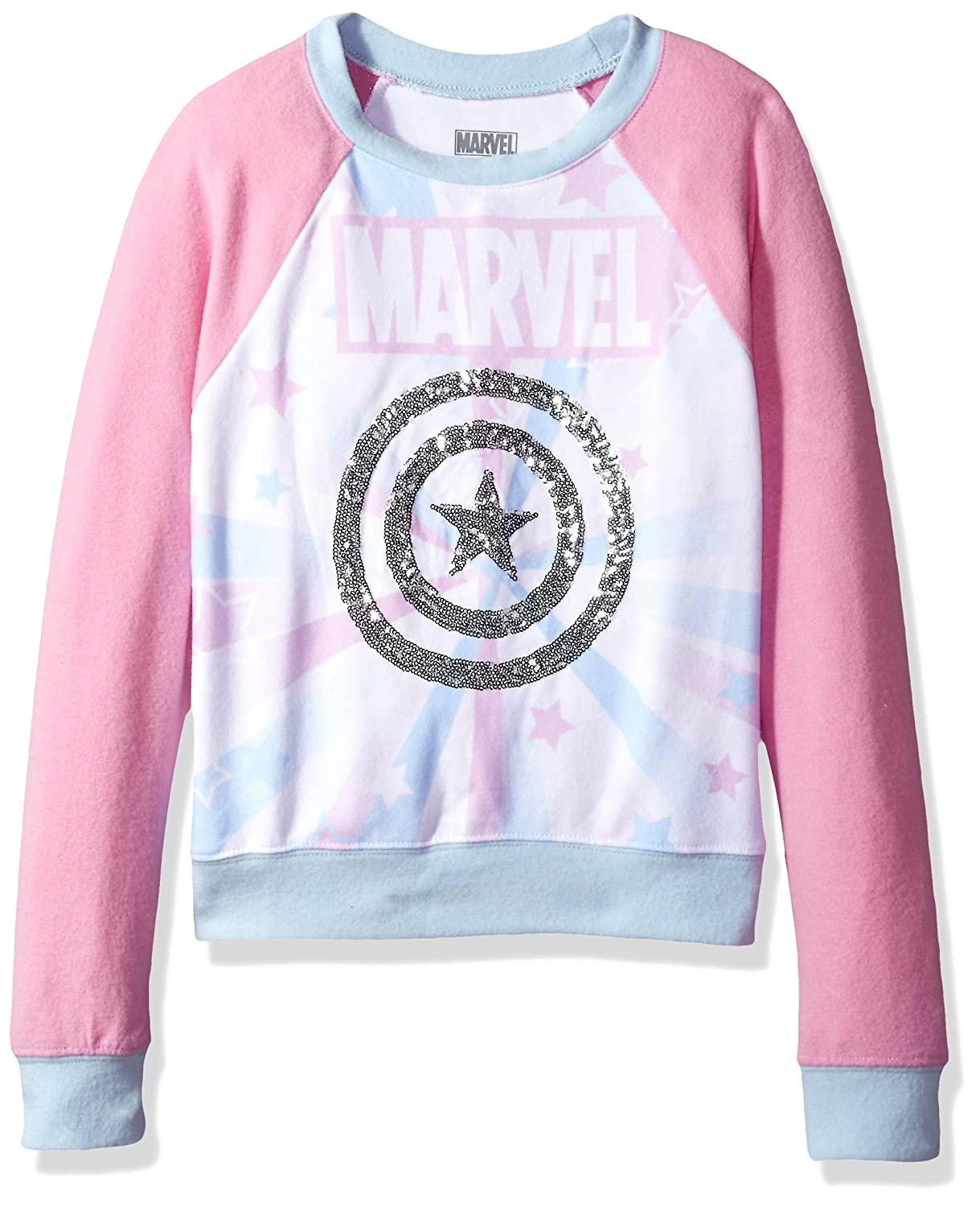 Marvel Girls' Big Captain America Hacci Sequin Pullover MVRCA34QLC