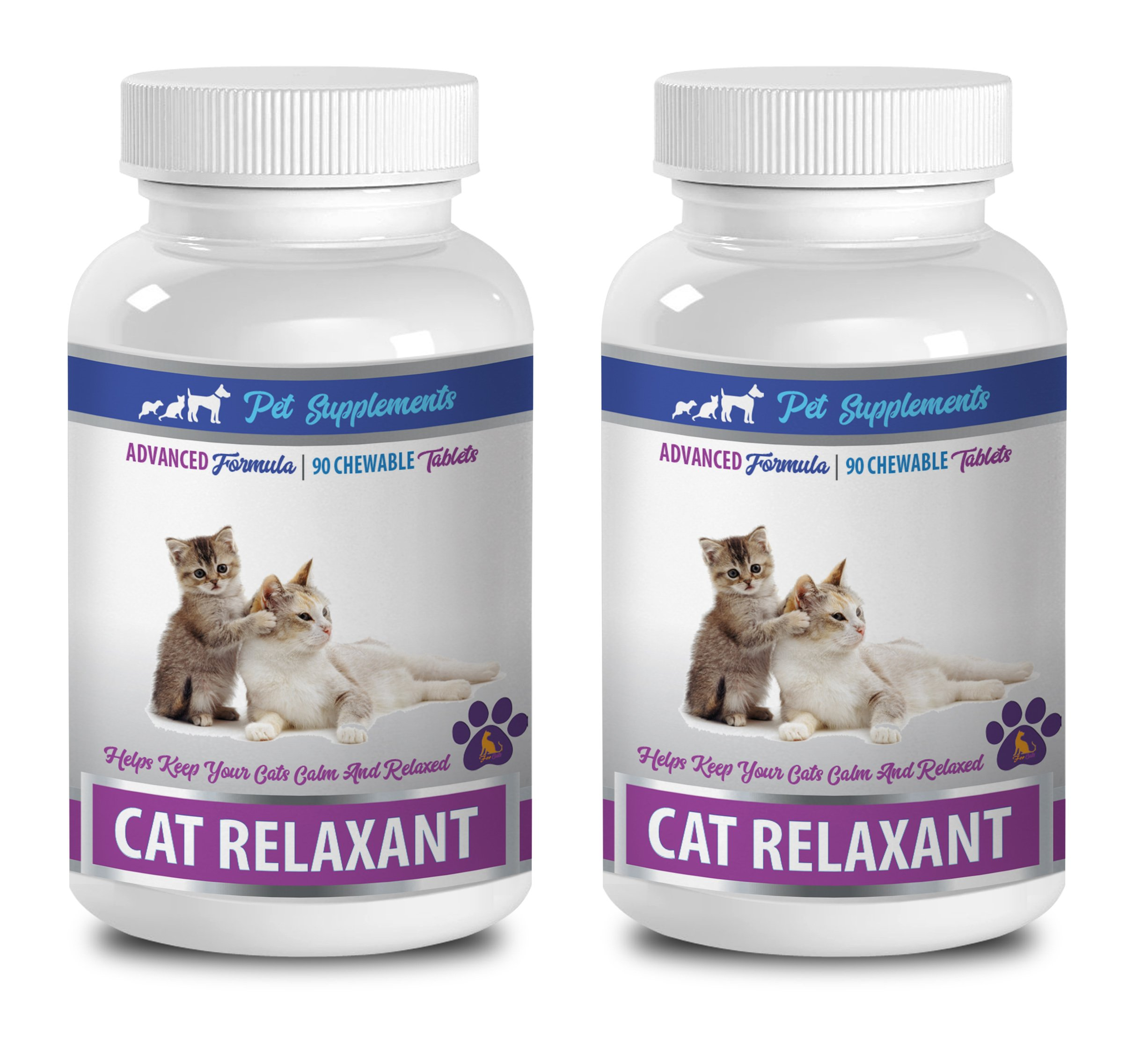 PET SUPPLEMENTS cat anxiety relief for travel - CAT RELAXANT - KEEPS CATS CALM AND RELAXED - CHEWABLE TREATS - valerian root for cats - 2 Bottle (180 Chews)
