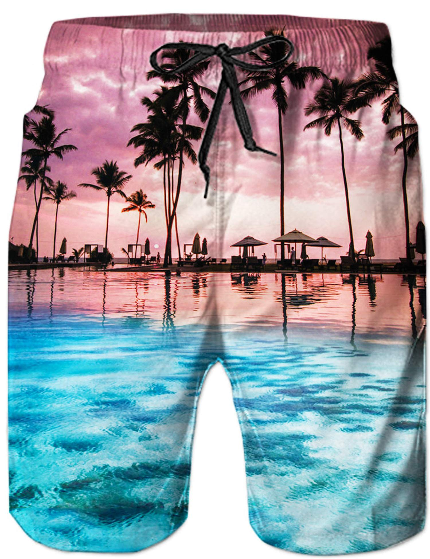 c69f38c332753 UNIFACO Teen Junior's Board Shorts Print Swimming Trunks Quick Drying  Hawaiian Boardwear with Pockets S
