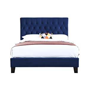 Upholstered Bed With Tufted, Padded Headboard, And Platform-Style Base