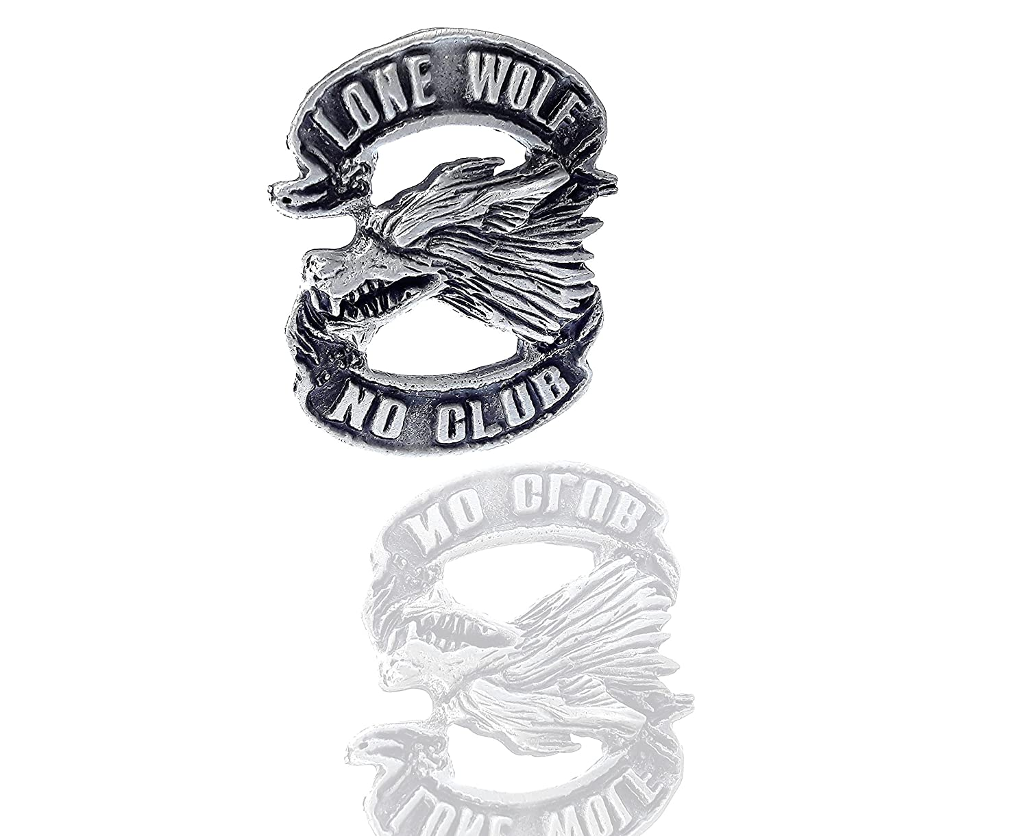 Lone Wolf No Club Pin Free Biker MC Good Sports DW0089