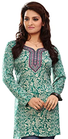 50772748a06 Amazon.com  Indian Tunic Top Womens Kurti Printed Blouse India Clothing   Clothing