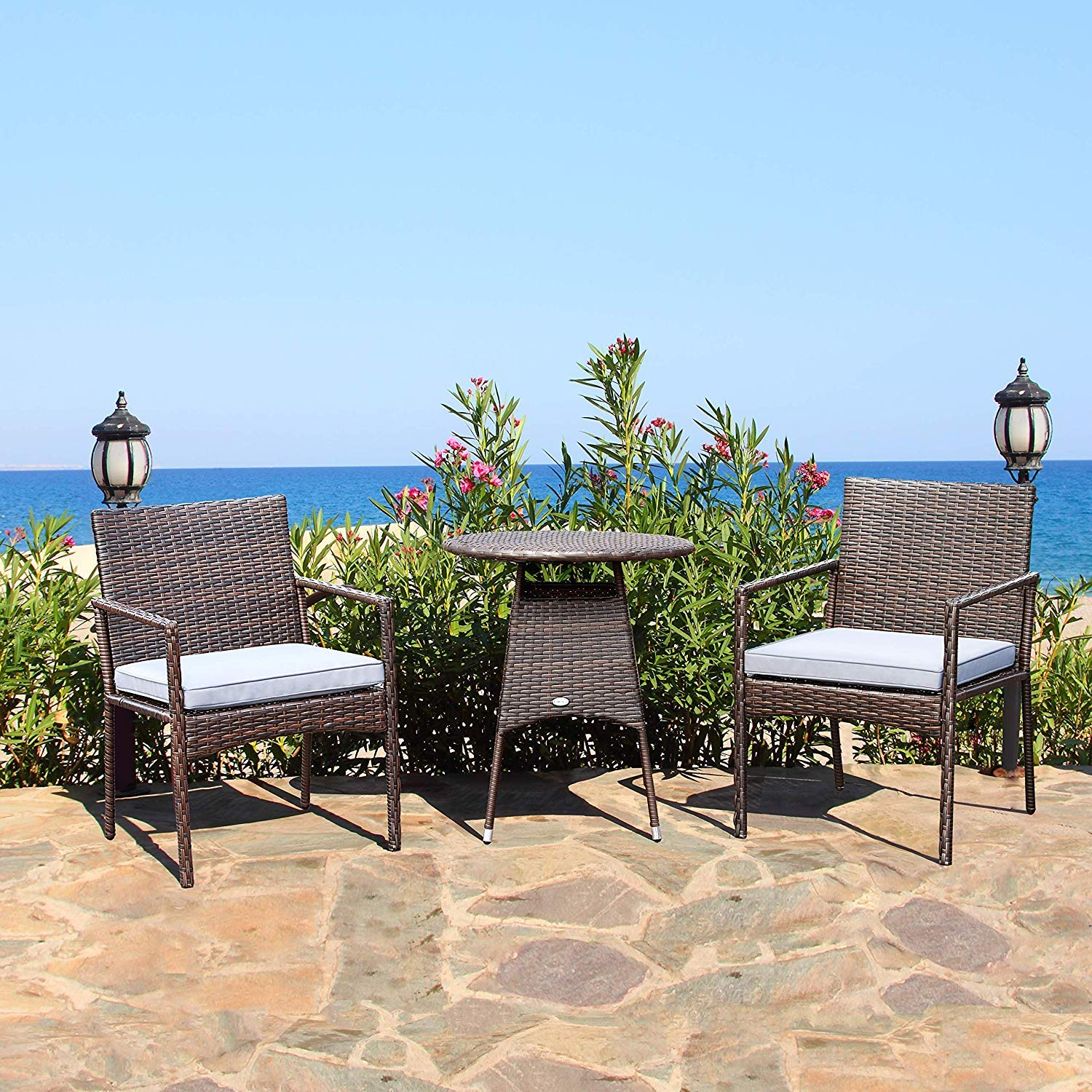 Tangkula 3 Piece Patio Furniture Set Wicker Rattan Outdoor Patio Conversation Set with 2 Cushioned Chairs & End Table Backyard Garden Lawn Chat Set Chill Time Modern Outdoor Furniture (Brown)