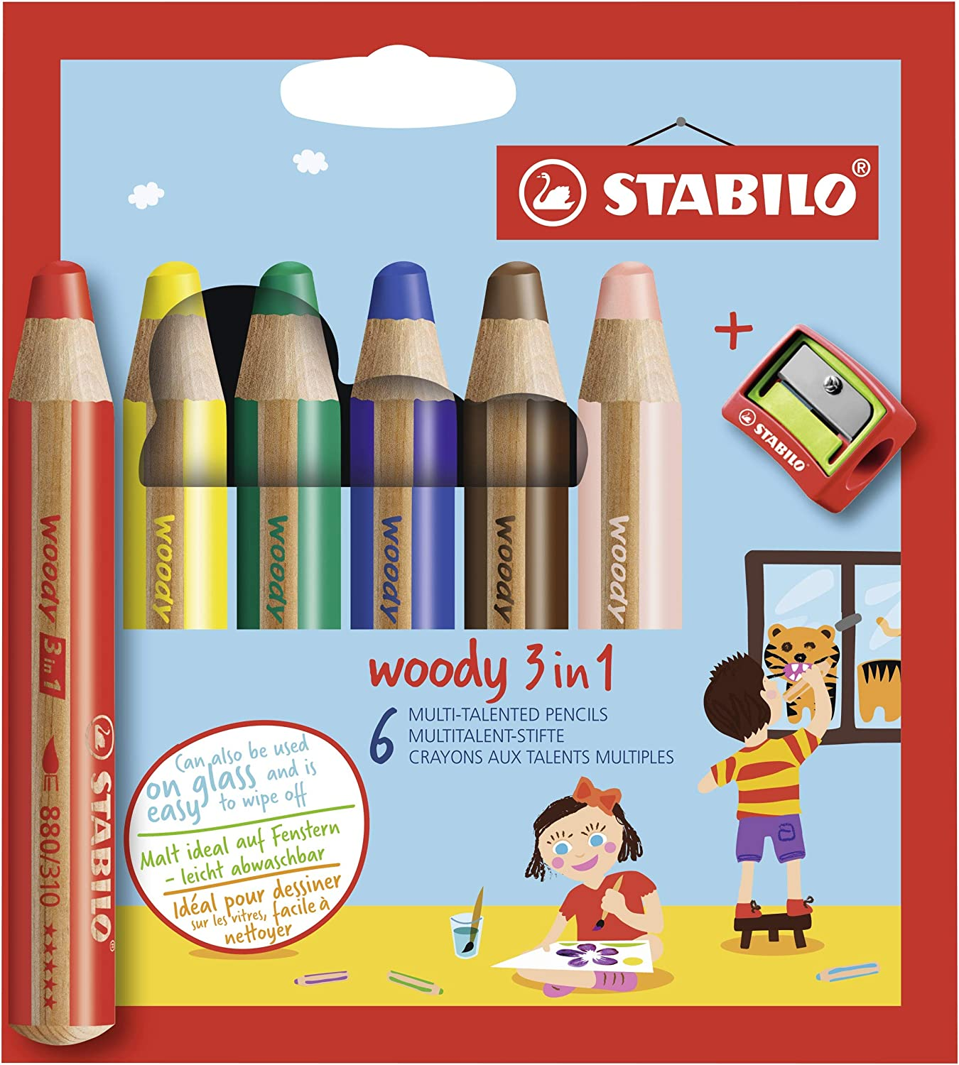 Stabilo Woody Coloring Pencils with Sharpener , Multicolored