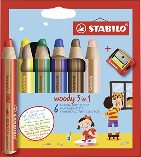Lápiz de color multitalento STABILO Woddy 3 en 1 - Estuche con 6 ...