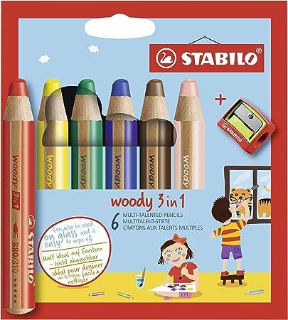 STABILO Woody 3 en 1 Lápiz multitalento - Estuche con 6 colores y sacapuntas: Amazon.es: Oficina y papelería