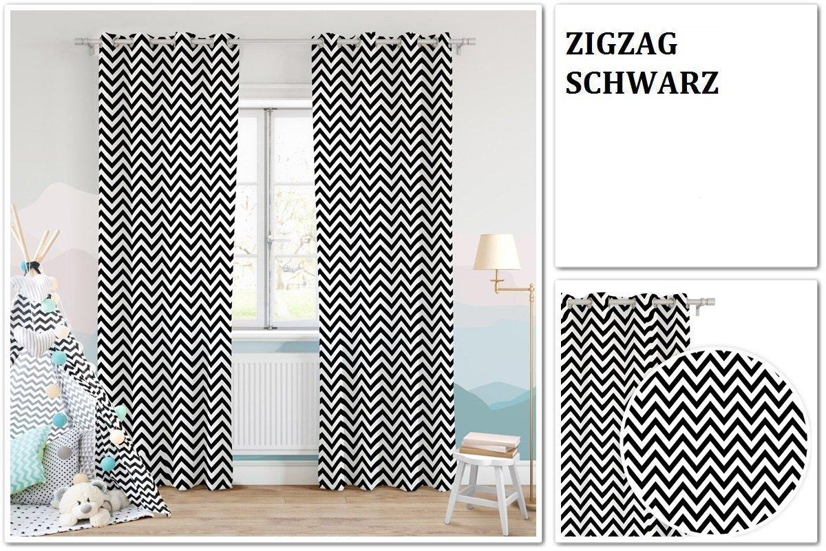 K-Zigzag-Schwarz FK-Lampem /Ösenvorhang GK1 Halbtransparent Vorhang /Ösenschal 140x250 cm 1 St/ück
