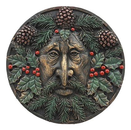 Amazon.com: Ebros The Horned God Winter Season Round Greenman Wall ...