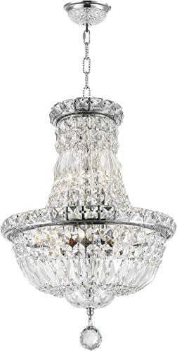 Worldwide Lighting Empire Collection 6 Light Chrome Finish Crystal Chandelier 12 D x 16 H Round Mini