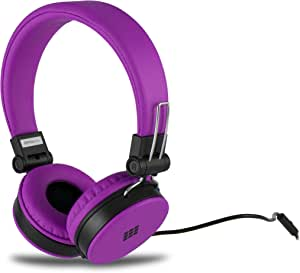 Polaroid PHP8660PU Neon Headphones with Mic, Foldable, Tangle-Proof, Compatible with All Devices, Purple